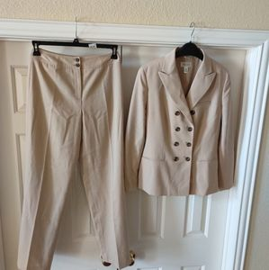 Talbot's Double Breasted Tan Pant Suit.